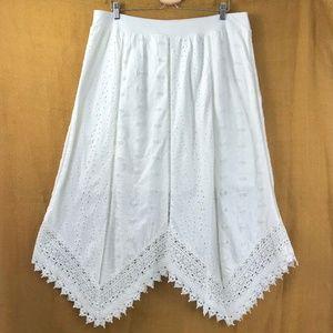 NWT Chico's White Eyelet Hanky Hem Skirt